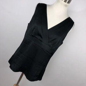 Ann Taylor 8 Tank Shell Top Shirt Black Silk V